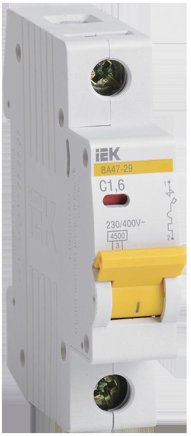 Выключатель автоматический ВА47-29 1Р 1,6А 4,5кА С IEK по цене 249 руб. в фирменном магазине IEK в России